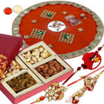 Eye-Catching Rakhi Lumba Set for Bhaiya Bhabhi, 1 Kid Rakhi and Puja Thali with Dry Fruit Platter