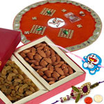 Ravishing 1 Bhaiya Rakhi, 1 Kid Rakhi with Almond, Raisins N Pooja Thali