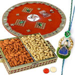 Marvelous 1 Bhaiya Rakhi, Rakhi Thali with Almond N Cashews