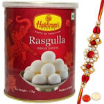 Heavenly 1 Bhaiya Rakhi and 1 kg. Haldirams Rasgulla