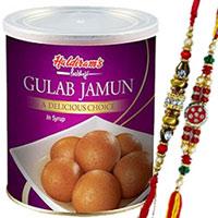 Lovely 2 Bhaiya Special Rakhi with 1kg. Haldiram Gulab Jamun