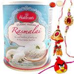 Tasty Haldirams Rasmalai Tin N 1 Set Rakhi Lumba for Bhaiya Bhabhi with Kid Rakhi