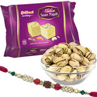 Lovable One Bhai Rakhi N Haldiram Soan papri with Salted pistachio
