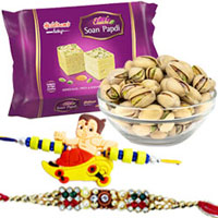 One-of-a-Kind Haldirams Soanpapri and Salted pistachio with 1 Special Bhai Rakhi and 1 Kid Rakhi