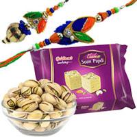 Sweet Gift of Haldirams Soanpapri and Bhujia with Rakhi Lumba Set for Bhai Bhabhi