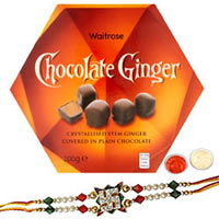 Attractive 1 Bhaiya Rakhi with Waitrose Chocolate Ginger