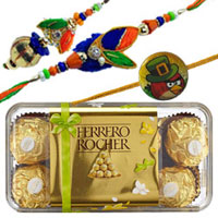 Mesmerizing Selection of 1 Family Rakhi Set Ferrero Rocher