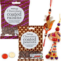 Smart Looking Collection of 1 Bhaiya N Bhabhi Rakhi with Waitrose Chocolate
