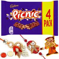 Appealing Gift Pack of One Family Rakhi Set with Cadbury Picnic Chocolate