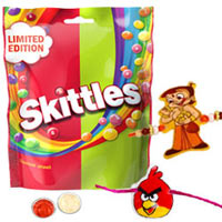 Stunning Two Kid Special Rakhi with Skittles Chocolate