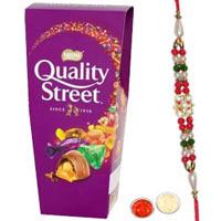 Lovable Choice of 1 Bhaiya Rakhi and Nestle Quality Street Pack