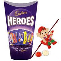Luxurious Cadbury Heroes Chocolate Pack with One Kid Special Rakhi