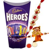 Chic 1 Kid Rakhi and 1 Bhaiya Rakhi with Cadbury Heroes Chocolate