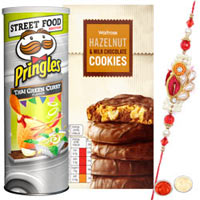 Dazzling 1 Bhaiya Special Rakhi with Chocolate Cookies and Pringles Street Food Edition
