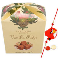 Gaudy Choice of 1 Kid Rakhi with Vanilla Fudge