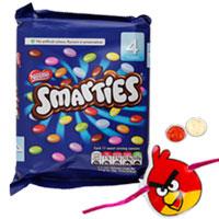 Angelic 100g Pack of Nestle Smarties N 1 Kid Rakhi