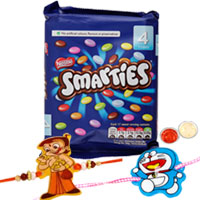 Delicate 100g Nestle Smarties Pack and 2 Kid Rakhi Set
