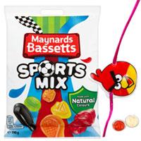 Maynards Bassetts Sports Mix Sweets Bag with 1 Kid Rakhi