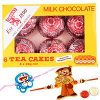 Glamorous 2 Kid Rakhi with Tunnocks Milk Chocolate Tea Cakes and Roli Tika