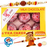 Appealing Set of 2 Kid Rakhi N 1 Bhaiya Rakhi with Tunnocks Milk Chocolate Tea Cakes.