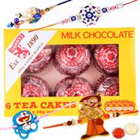 Fascinating Present of 2 Kid Rakhi with 1 Bhai N Bhabhi Rakhi and Cadbury Dairy Milk Caramel Nibbles Chocolate Bag