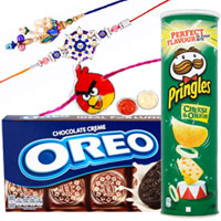Fashionable 1 Family Rakhi Set with Oreo Chocolate Creme Sandwich Biscuit and Pringles Cheese  n  Onion.