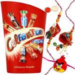 Dazzling 1 Family Rakhi Set N Cadbury Fudge Minis Chocolate Bag