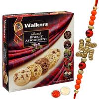 Fashionable 1 Bhaiya Rakhi and Walkers Scottish Biscuit Selection.