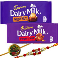 Remarkable 1 Kid Rakhi N 1 Bhai Rakhi Set with Cadbury Dairy milk whole nut Chocolarte bar and Cadbury Dairy milk Fruit and Nut Chocolate bar