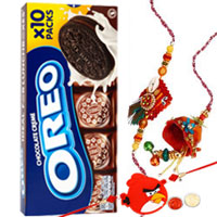 Classy 1 Family Rakhi Set with Oreo Chocolate Creme Sandwich Biscuit 10 Snack Packs.