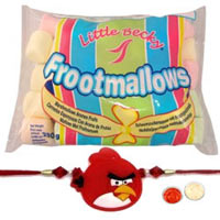 Gaudy Choice of 1 Kid Rakhi with Little Becky Funmallows Mini Coloured