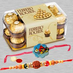 Attractive Single Rakhi with Ferrero Rochers