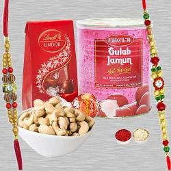 Fetching Rakhi Combo With Lindor Chocolate , Cashew N Bikaji Gulab Jamun