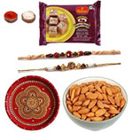 Traditional Rakhi With Soan Papdi, Rakhi Thali And Almonds