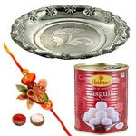 Arresting Rakhi Combo With Rasgulla And Silver Puja Thali
