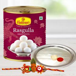 Fanciable Kalash Rakhi With Rasgulla And Silver Puja Thali