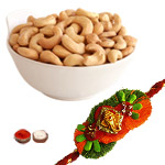 Delightful Ganesha Rakhi Along With Cashew