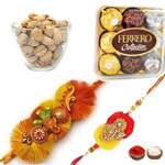Attractive Ganesha Rakhi With Pistacio N Ferrero Rochers