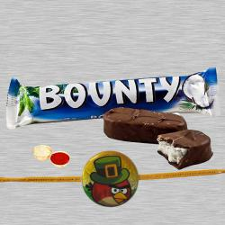 Modish Angry Bird Kid Rakhi With Bounty Chocolate