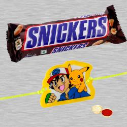 Lovely Pokemon Kid Rakhi With Snikers Chocolate