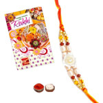 Stylish One White Beaded Rakhi
