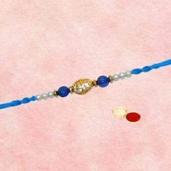 Fabulous 1 Rakhi with Blue n White Stones