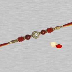 Fashionable One Round White Stone Rakhi