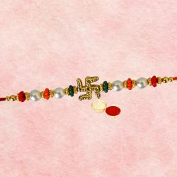 Charming One Swastic N Pearl Design Rakhi
