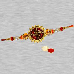Admirable One Swastic Rakhi Designed with Pearl and Beads