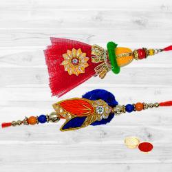 Enticing One Bhaiya Rakhi N Bhabhi Lumba Set in Round Shape