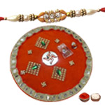 Elegant One Single Color Beads Rakhi with Traditional Thali