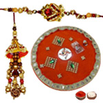 Impressive Combo of Decorative Puja Thali with One Bhaiya Bhabhi Rakhi Set