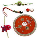 Spectacular Combo of Traditional Thali with One Bhaiya Bhabhi Rakhi Set N One Spiderman Rakhi for Kid