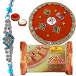 Splendid Collection of One Puja Thali with One Bhaiya Rakhi N 250g Soan Papdi